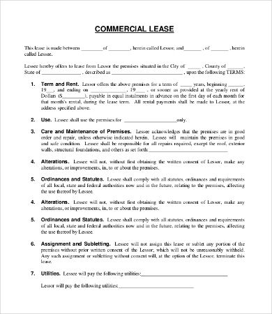 Commercial Land Lease Agreement Template1 , 11+ Simple Commercial - basic sublet agreement
