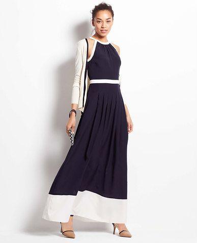 4ed9351c7d Colorblock Halter Maxi Dress   *Ann Taylor*   Halter maxi dresses ...