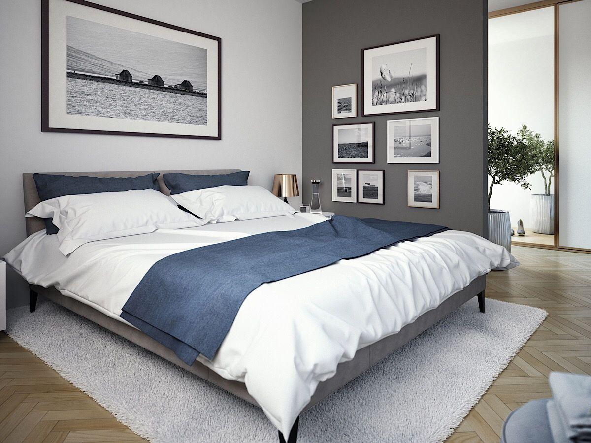Modernes Schlafzimmer Farben grau, weiss, blau Wohnideen