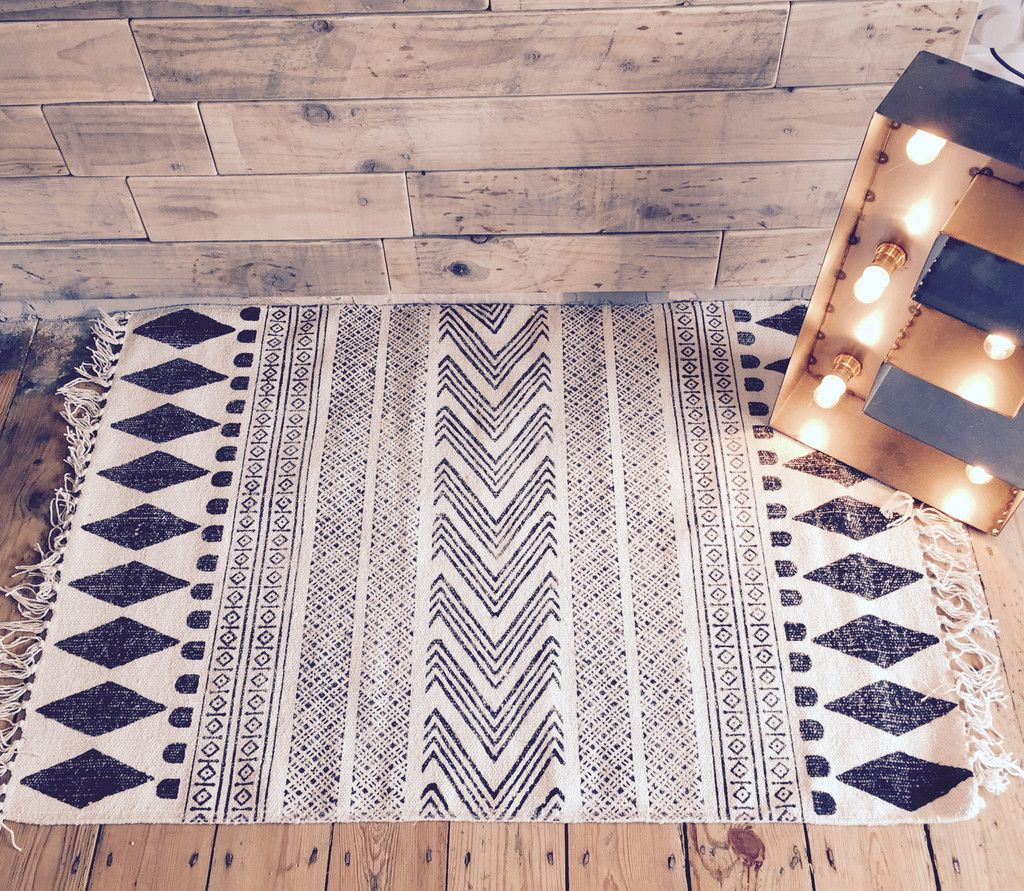 Scandinavian Handwoven Rug Aztec Block Furniture