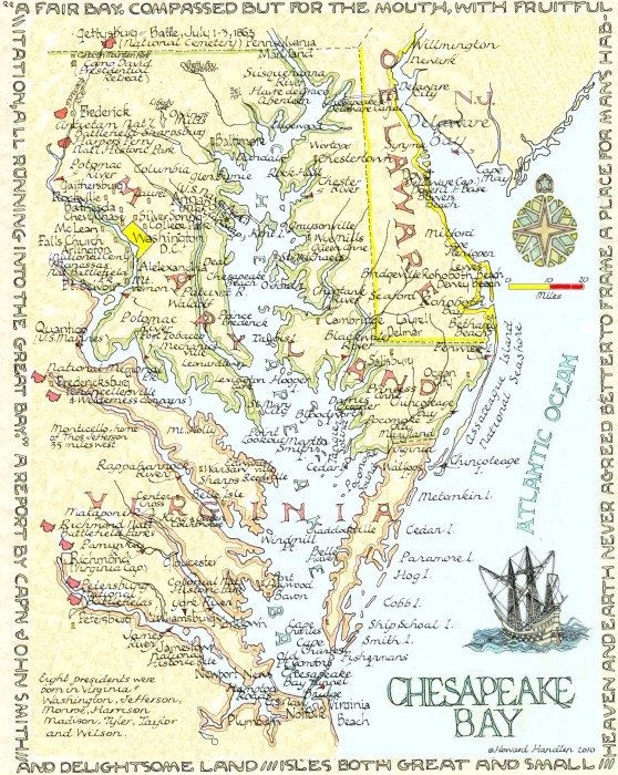 map of the Chesapeake Bay which separates Virginias Eastern Shore