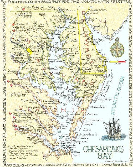Chesapeake Bay Area Two Sizes Chesapeake bay Maryland and Virginia