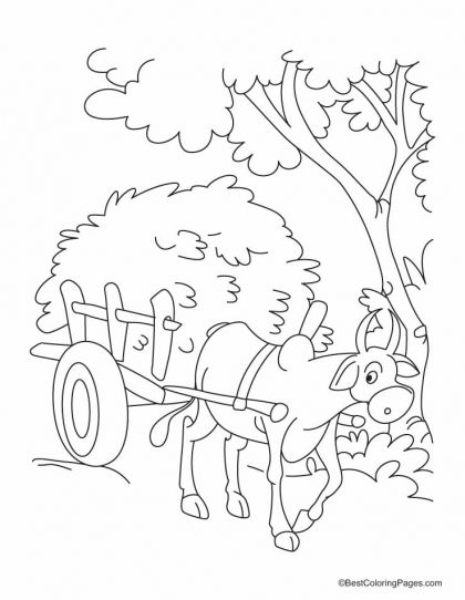 rice coloring pages for kids | A bullock cart piled high with rice straw coloring pages ...