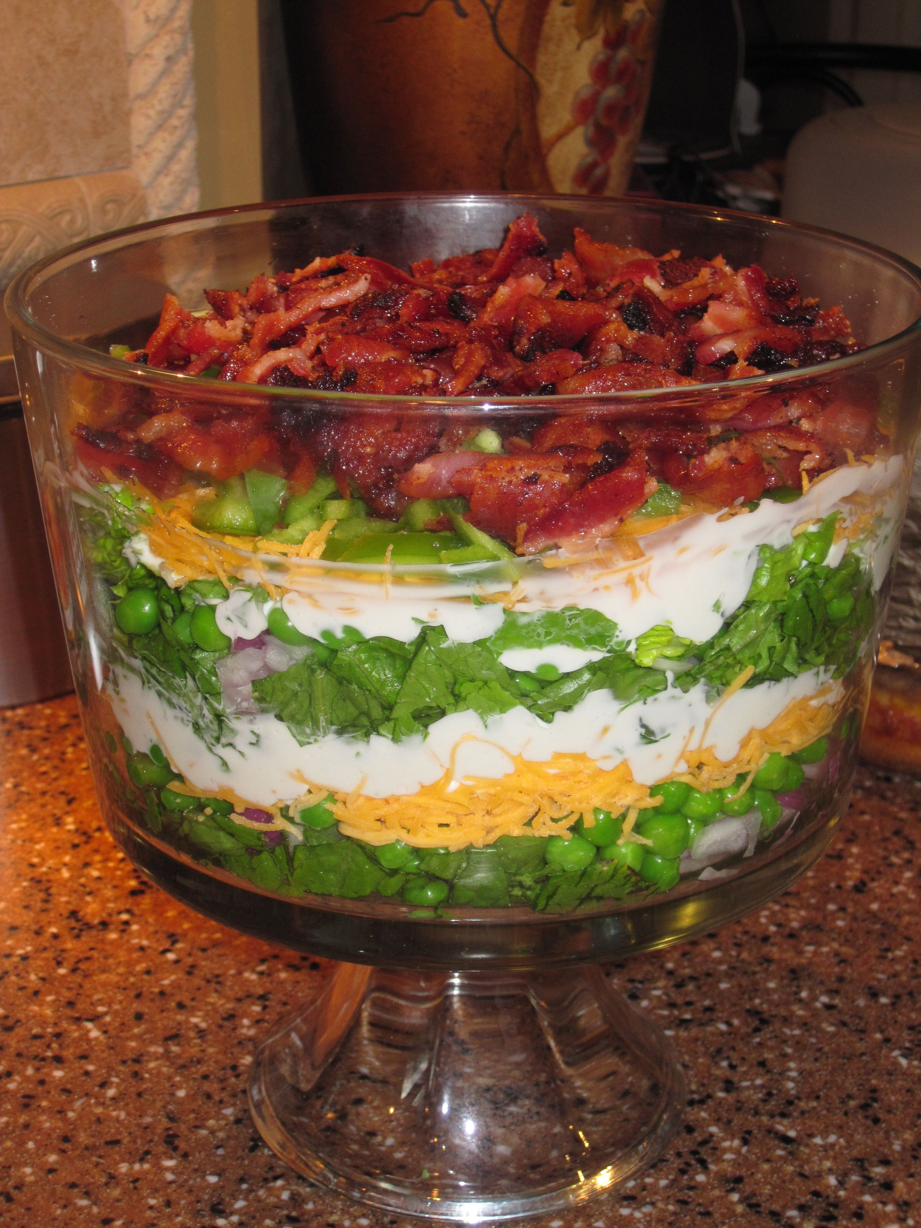 7 Layer Salad Green Lettuce Peas Celery Cucumber Bacon Sharp Cheddar For The Dressing Mix Ma Healthy Snacks Recipes Layered Salad Recipes Layered Salad