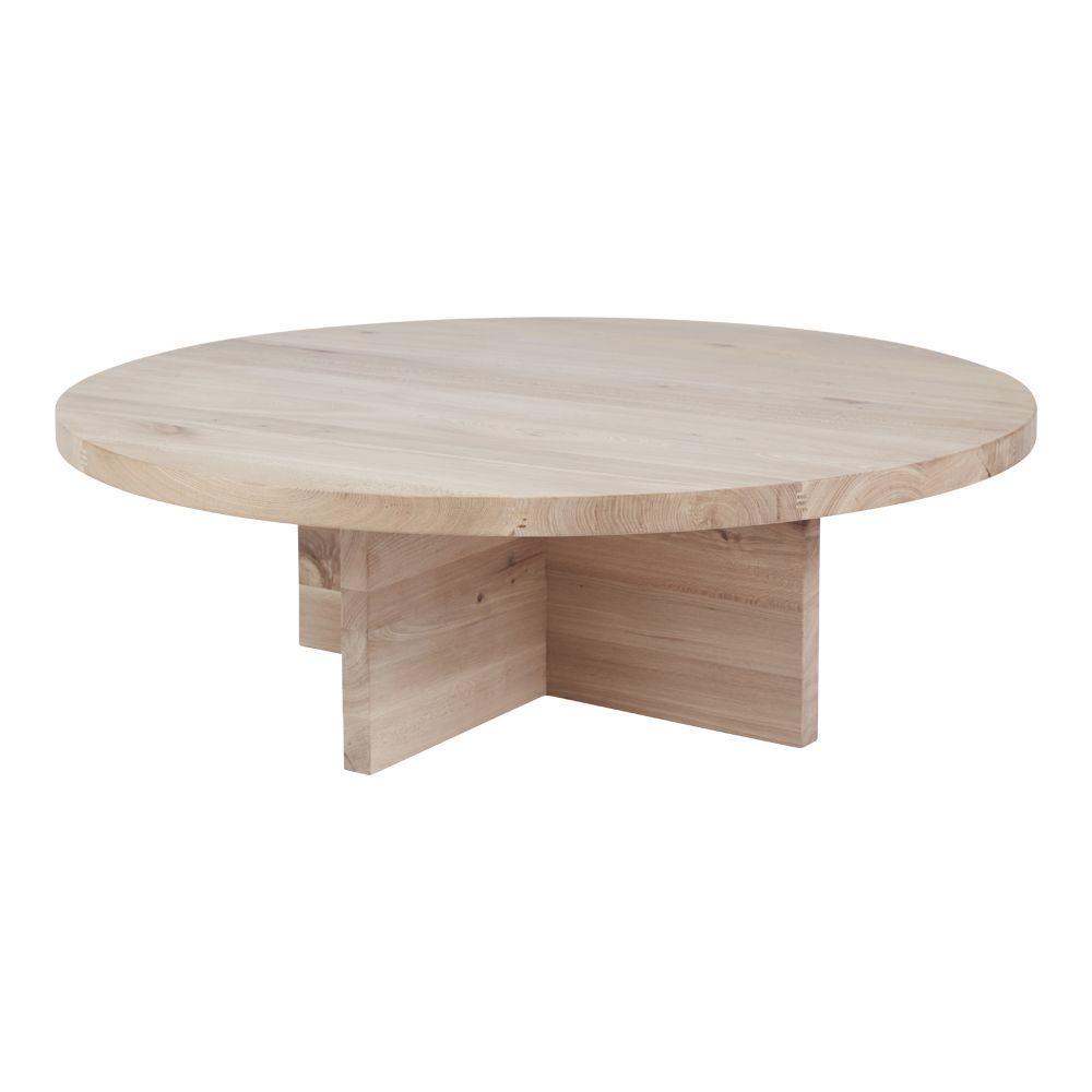Modern Contemporary Round Oak Coffee Table Designer Accent