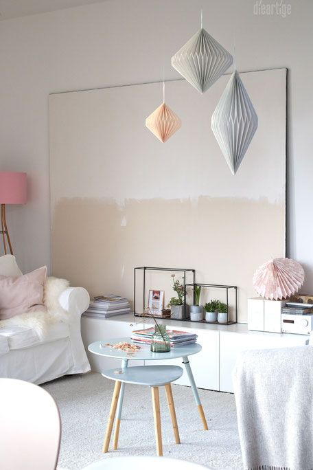 DieartigeBLOG   Wandgestaltung, Leichte Papierdeko, Frühlingsdekoration In  Weiß, Rosè Und Grau
