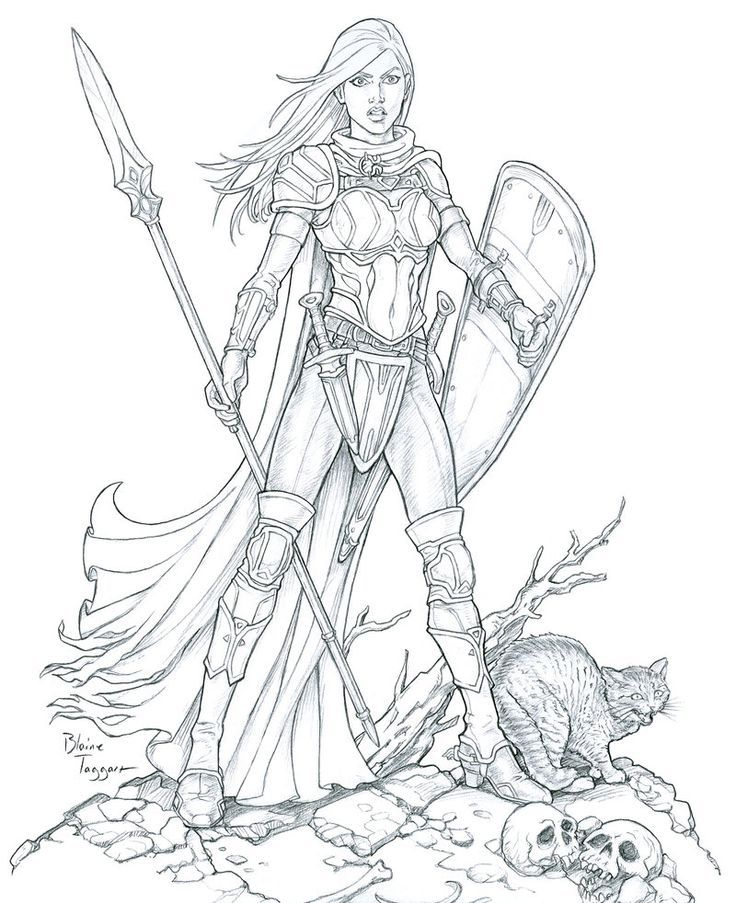 Cool female warrior line art