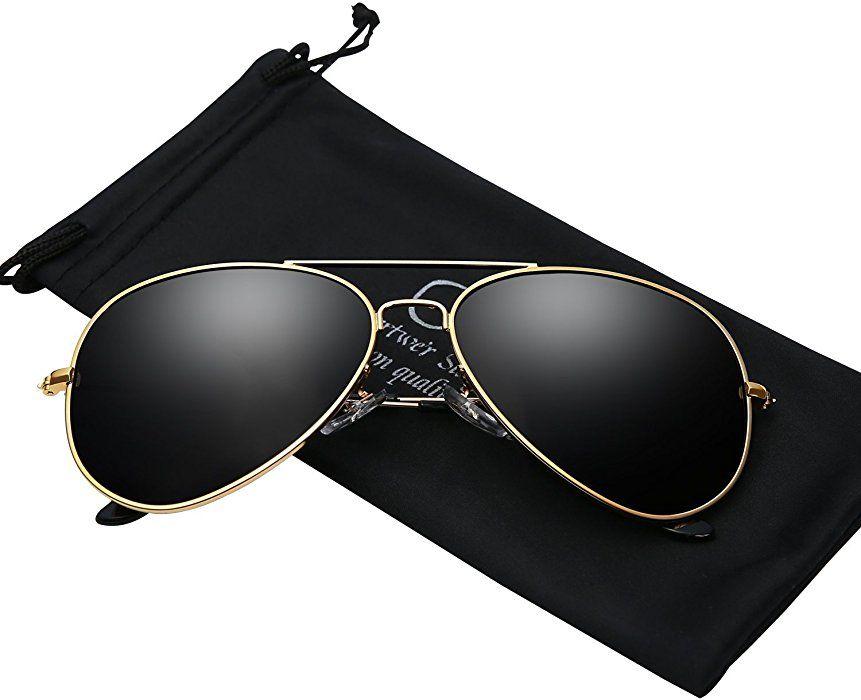 e95ecb5139b Sunglasses for Men Polarized Aviator Gold Frame UV 400 Protection Shades  With Case at Amazon Men s Clothing store
