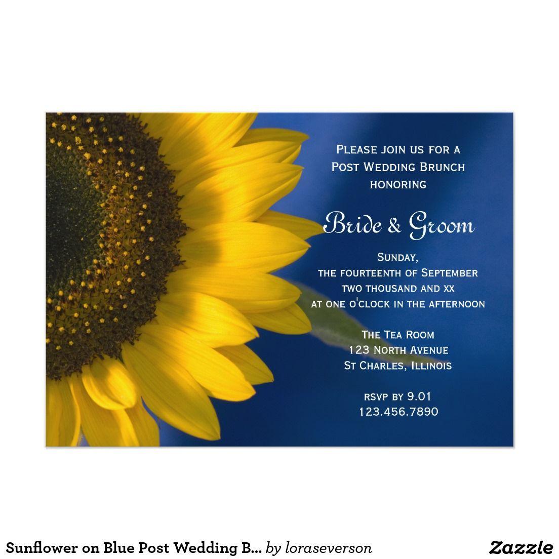 Sunflower on Blue Post Wedding Brunch Invitation   Sunflower ... - Einladungskarte Sonnenblume