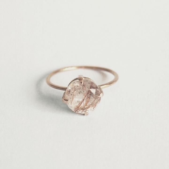 lux ring wedding engagement in rose boho rings silver fine quartz