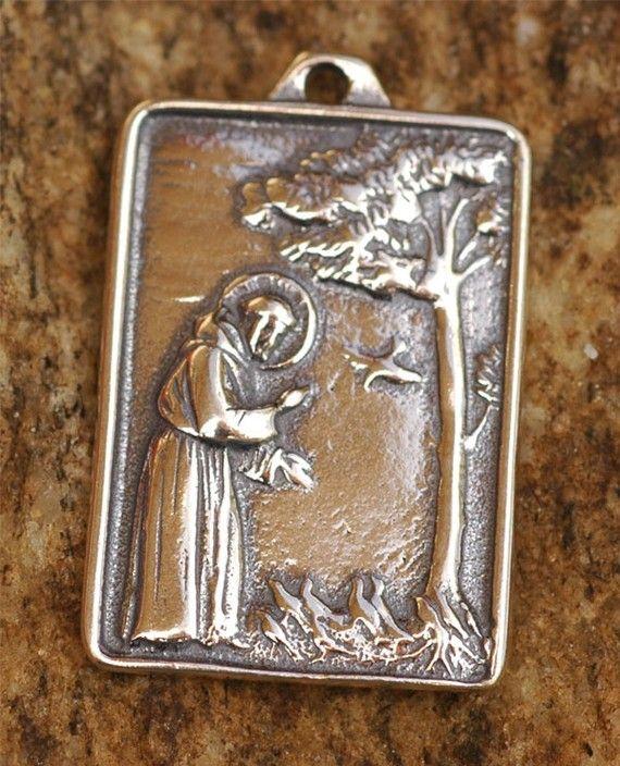 Saint francis of assisi pendant or big charm in sterling silver saint francis of assisi pendant or big charm in sterling silver 114s aloadofball Choice Image