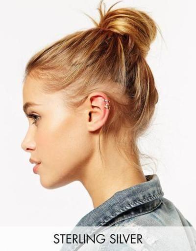 ASOS Juego de ear cuffs de plata esterlina Mezcla de metal #jewelry #women #covetme