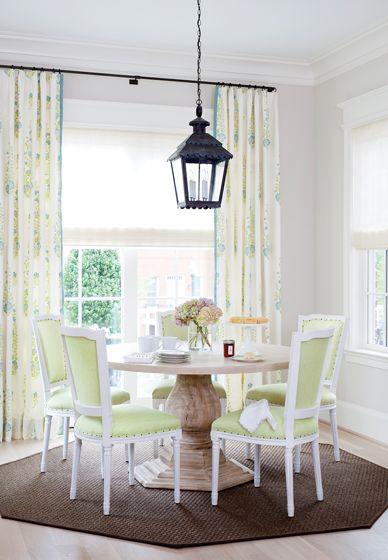 A John Rosselli Lantern In A Verdigris Finish Hangs Above A Custom  Furniture L.A. Table In The Breakfast Nook.