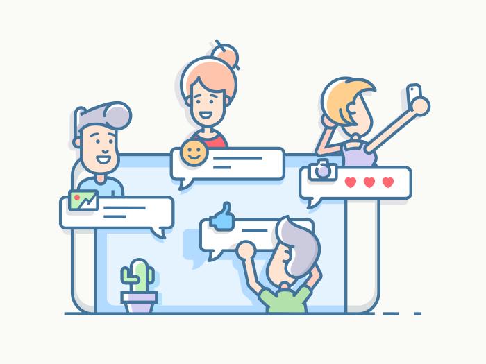 Friends talking in chat app illustration in 2020 Vector