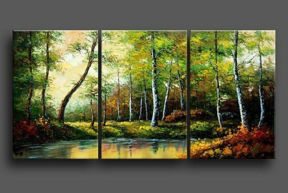 3 Piece Pond Wood Hand Painted Wall Art Free Global Shipping Framed Large Canvas Painting Huge Wall Art Landscape Paintings