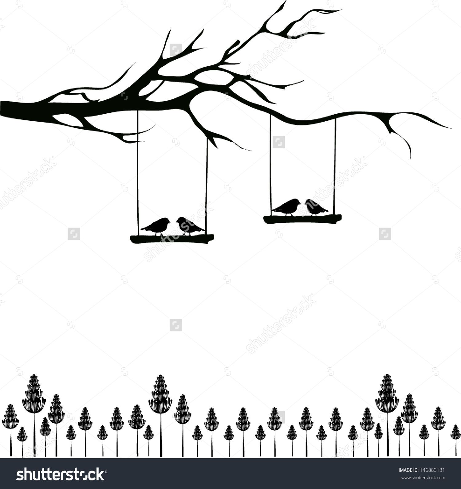 Summer beach scene vector stock vector colourbox - Tree Silhouette With Birds In Love On A Swing Stock Vector