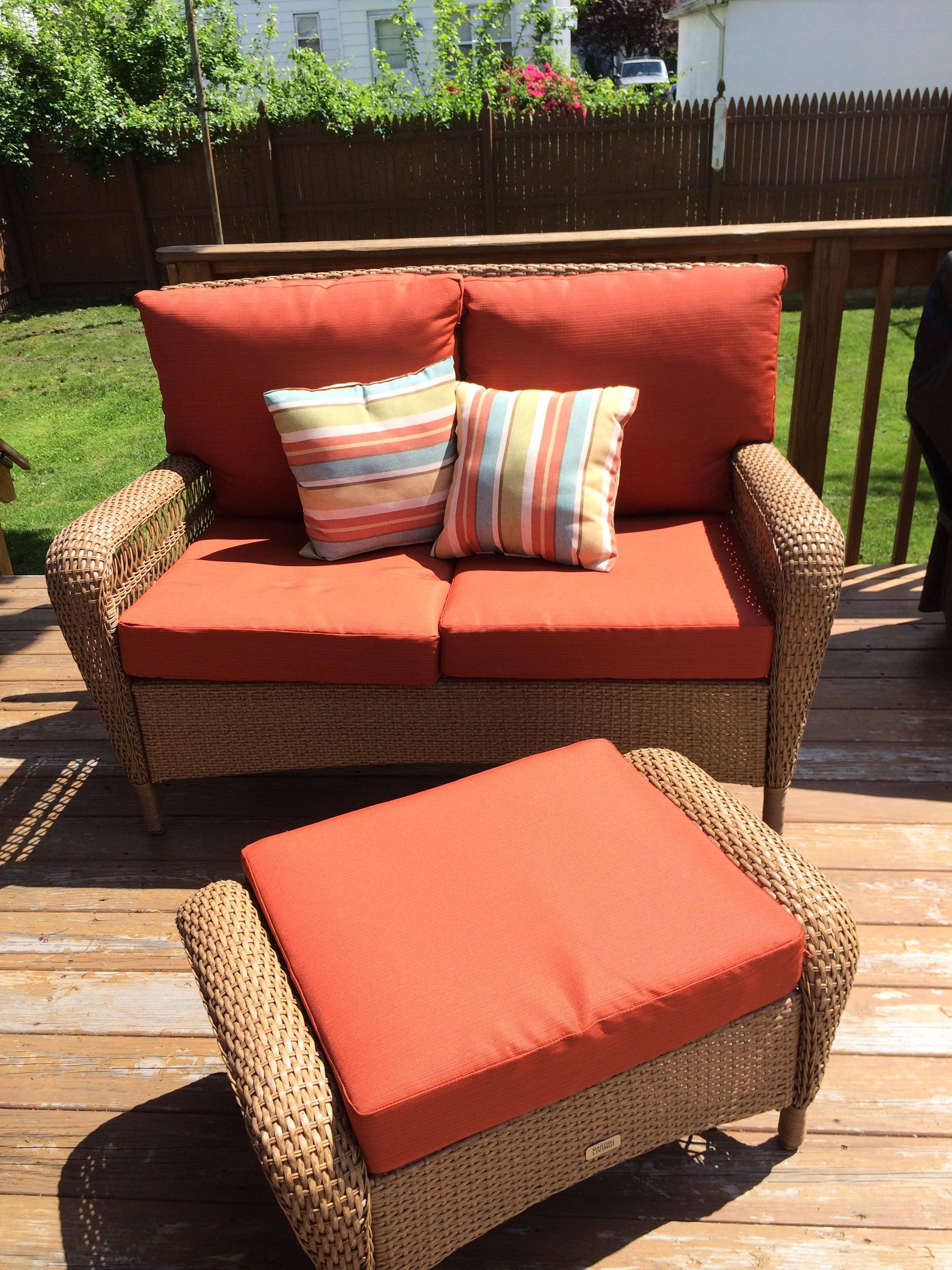 Martha Stewart Charlottetown Patio Collection Love Seat Ottoman