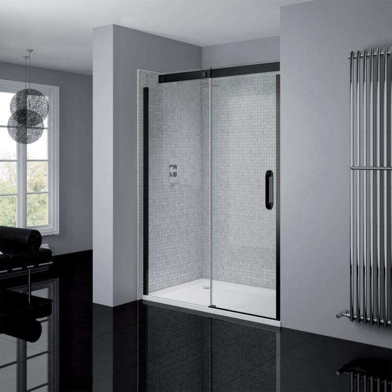 April Prestige2 Frameless Sliding Door Shower Enclosure Clear Black Met Afbeeldingen Interieur Doors Badkamer