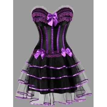 plus size ruffles two piece corset dress  plus size