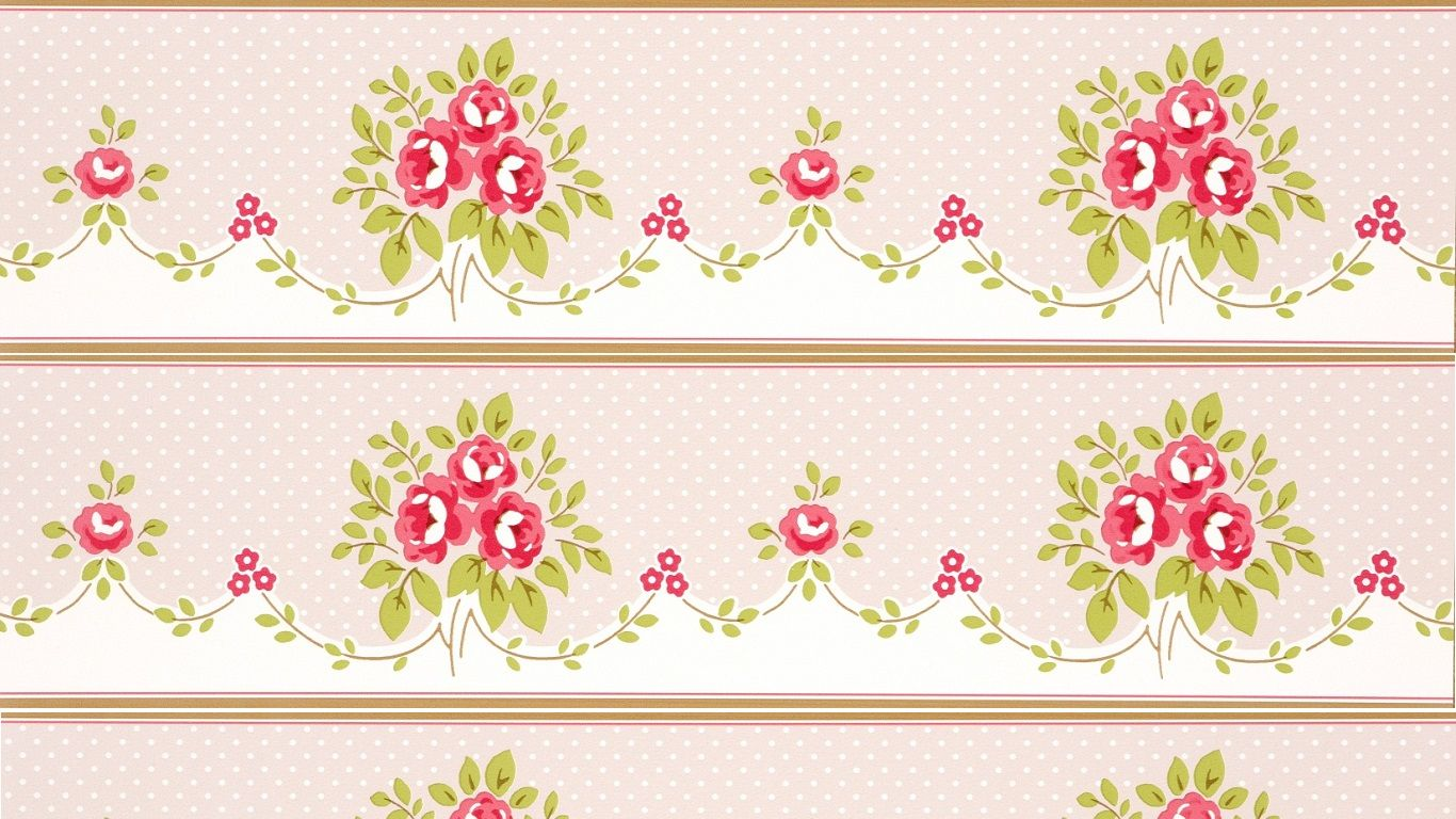 Shabby Chic Wallpaper Border floral bouquet border fawn SHABBY CHIC