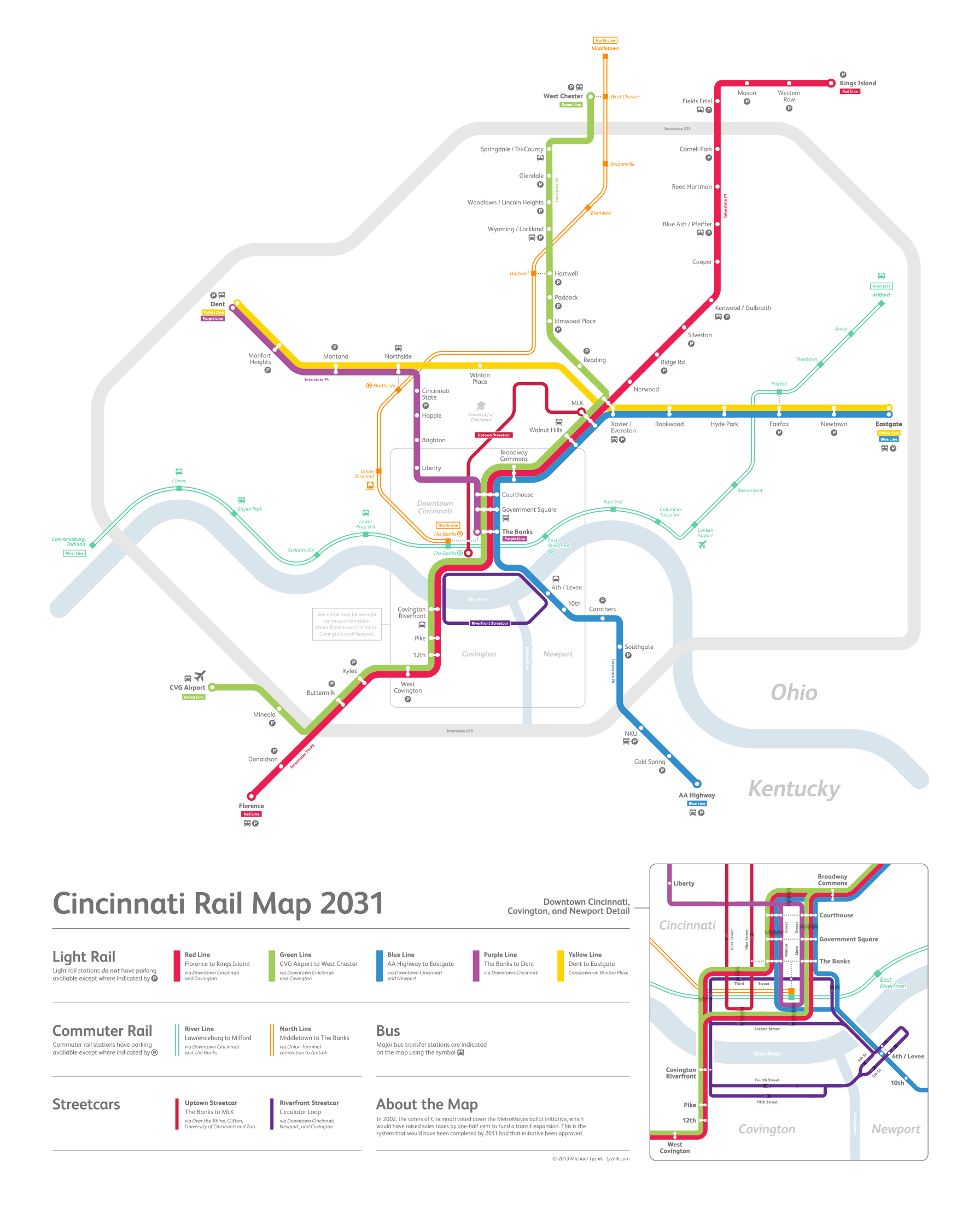 Cincinnati Subway Map.Cincinnati Rail Map 2031 Michael Tyznik Xenoglaux Design Bureau
