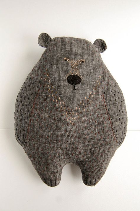 Rufin the Bear, 10 5⁄8 inch baby soft toy, handmade stuffed woodland plush, embroidered nursery pillow, cute kids gift #bearplushtoy