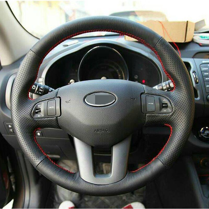 17 Black Artificial Leather Car Steering Wheel Cover For Kia Sportage 3 2011 2014 Kia Ceed 2010 Re Car Steering Wheel Cover Steering Wheel Cover Steering Wheel