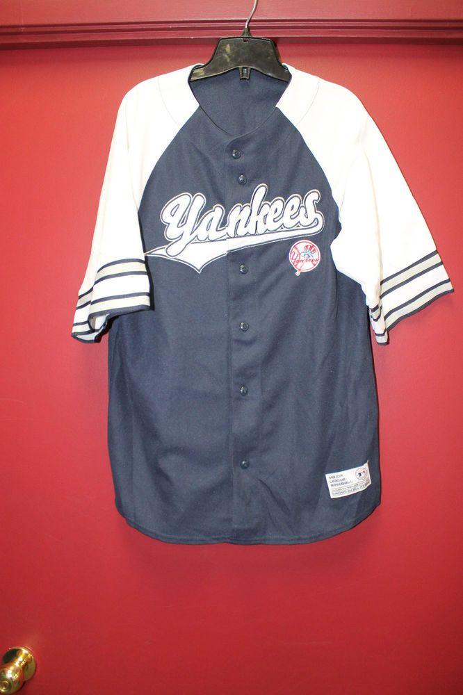 fbef644d4 New  MLB New York  Yankees Letter Jersey Shirt Button Up Blue Men s Xxl  from  14.99