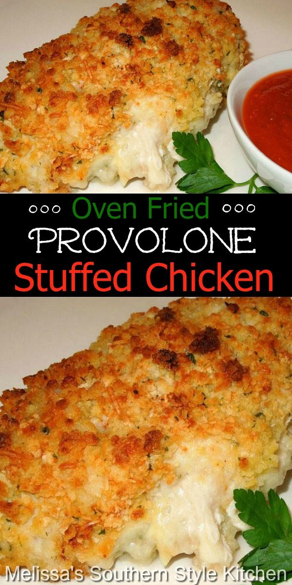 Oven Fried Provolone Stuffed Chicken Breasts Chicken Main Dishes Chicken Dinner Recipes Chicken Recipes