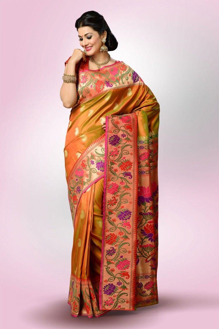 Yeola paithani saree images saree market paithani saree anjeri mehendi colour  latest silk