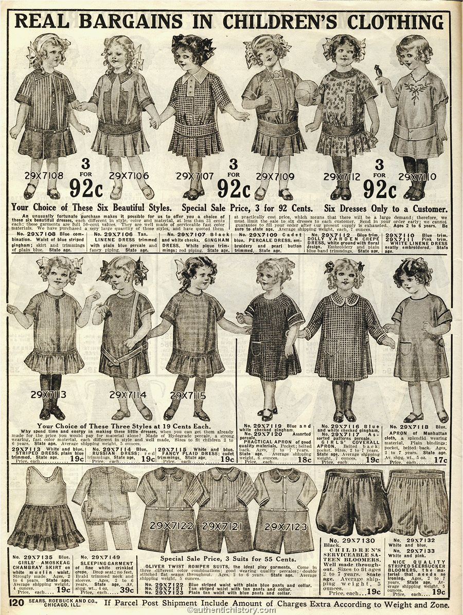 Sears Baby Clothes 1914 Sears Household Catalogue  Historical Children's Fashions