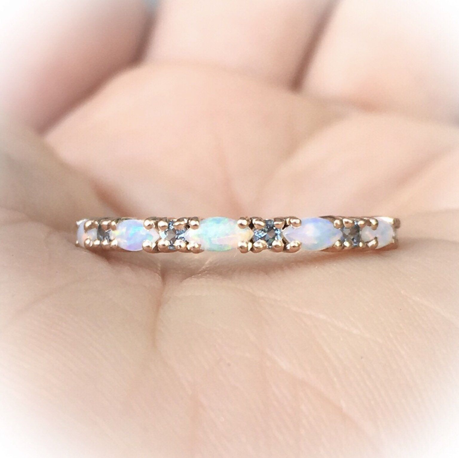Opal,White Opal Ring,White fire opal,diamond eternity band,CZ ring,Stack rings,wedding band,birthday ring,Halo Ring,3 ring set,opal stack