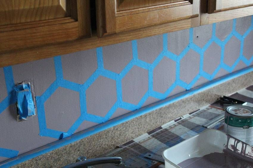 Great Easy DIY Geometric Tile Painted Kitchen Backsplash | Runaway Apricot Pictures Gallery