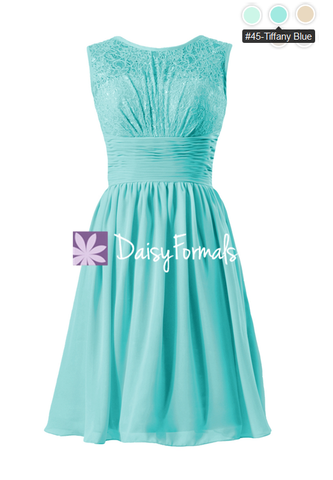 Aqua Lace Bridal Party Dress Tiffany Blue Vintage Chiffon Formal