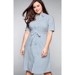Große Größen: Hemdblusenkleid mit Knopfleiste und Bindegürtel, hellblau-weiß, Gr.50