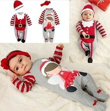 0048e48daaf36 2 Pcs Newborn Baby boys Girls Xmas Santa Claus Rompers Infant Babies Kid  Cute Christmas Romper+hat/headband Outfits Kids Clothes(China (Mainland))