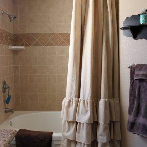 Wonderful Tan Ruffle Shower Curtain