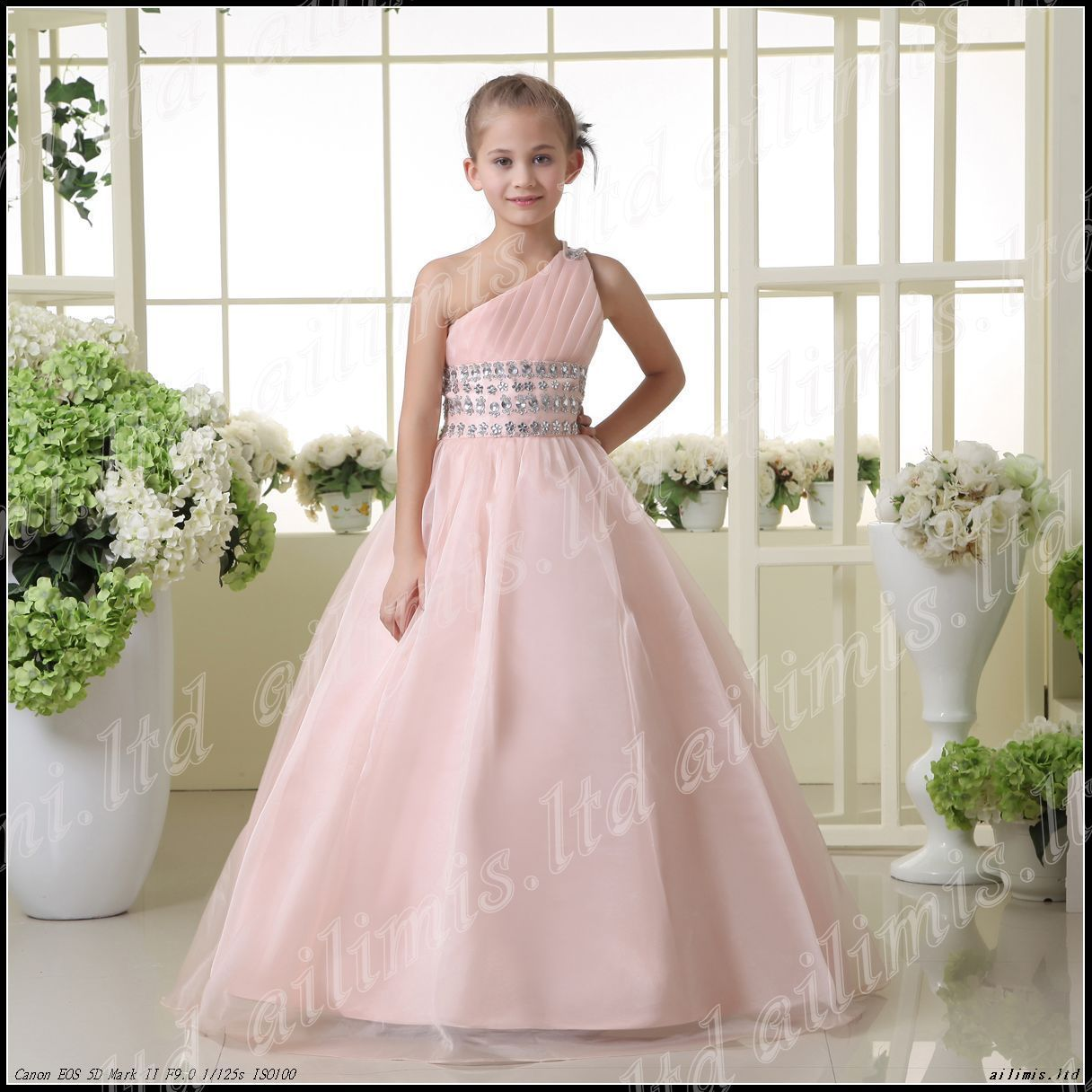 Pink One Shoulder Ball Gown Kid Pageant Formal Dance Party Prom Ebay