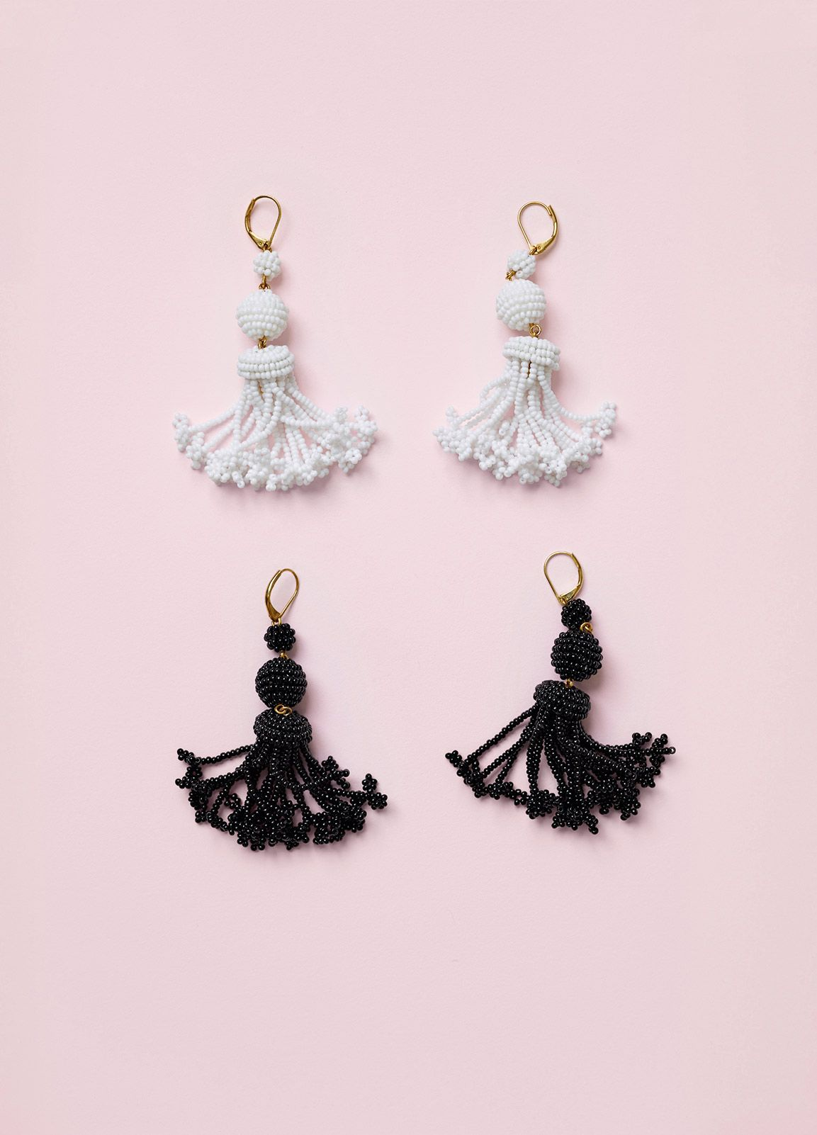 Beads Pompon Earrings in Glass and Brass - Spring / Summer Collection 2016 | CÉLINE