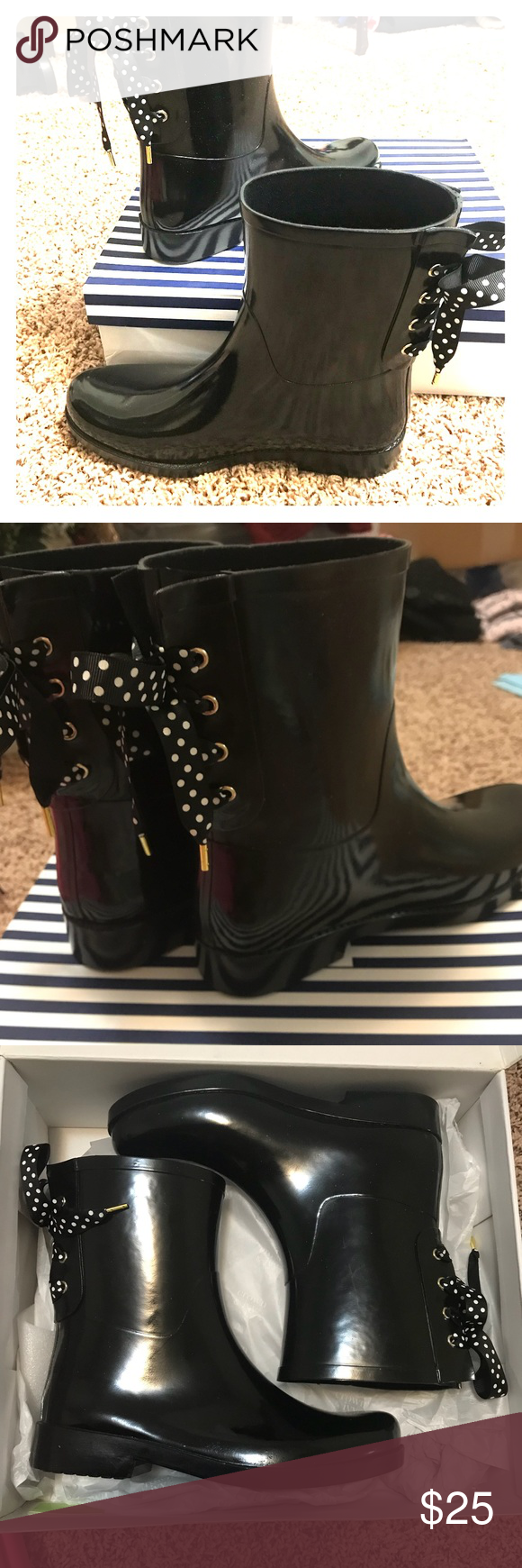 3f353ffa6ea1 Crown   Ivy Rayme Lace Rain Boot  NEW  Crown and Ivy rubber gloss rain boots  with lace up ribbon and bows on back. Ribbon black with white polka dots.