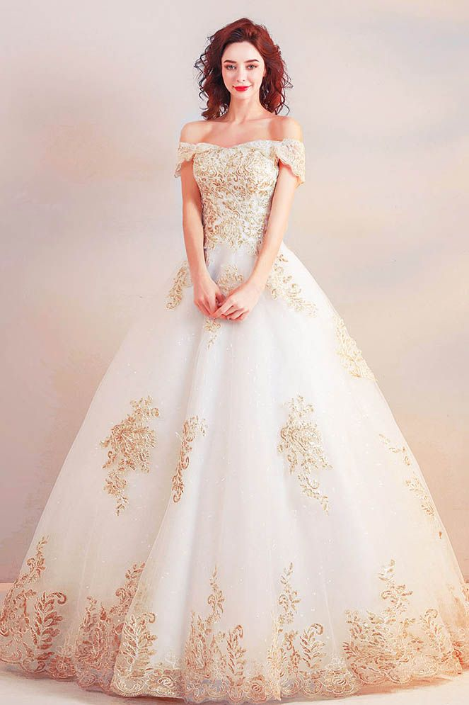 Off The Shoulder Ball Gown Long Gold Wedding Dress With Appliques Ball Gown Wedding Dress Gold Wedding Dress White Ball Gowns