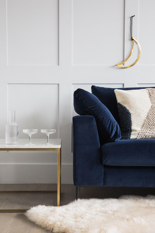 Introducing the contemporary collection home decor - Navy blue velvet sofa ...