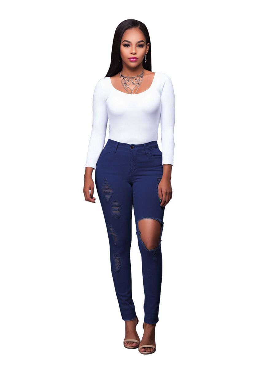 Dark Wash Denim Destroyed Butt Lift Jeans_Butt Lifting Skinny Jeans_Women Jeans_Sexy Lingeire | Cheap Plus Size Lingerie At Wholesale Price | Feelovely.com