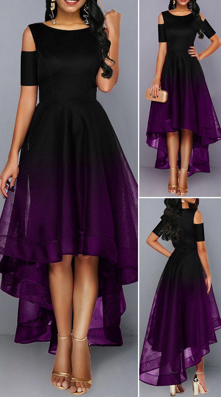 High Low Color Block Cold Shoulder Maxi Dress HOT SALES 2019, beautiful dresses, pretty