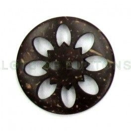 coconut hull flower button with cutouts