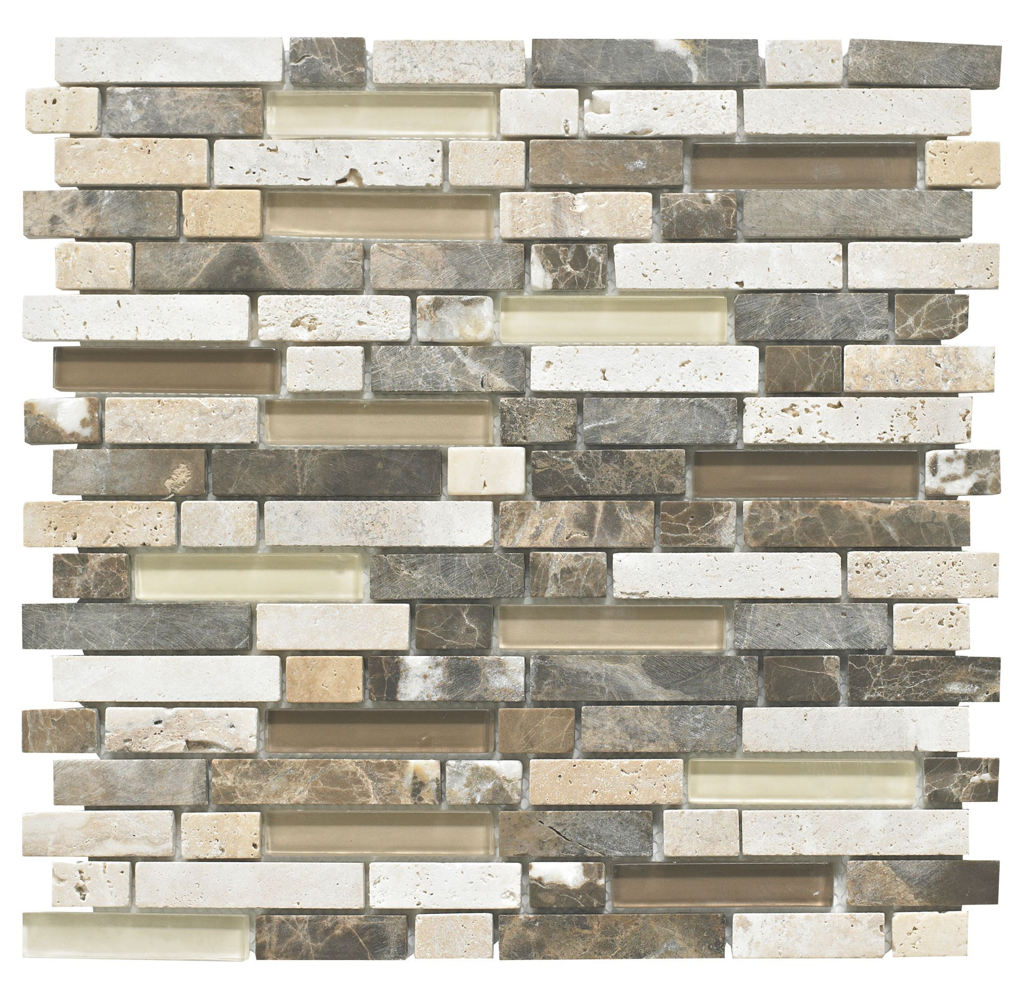Stone Glass Emperador Mosaic Wall Tile L 300mm W 308mm