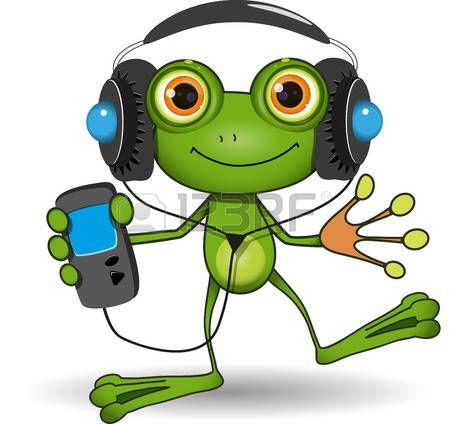 Ilustraci�n de una rana de dibujos animados en los auriculares photo