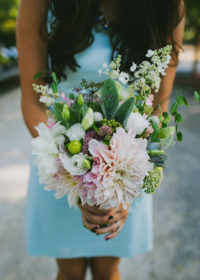 August bridesmaid bouquet at Terrain at Styers Flower by Love 'n Fresh Flowers Photo by Amber Vickery
