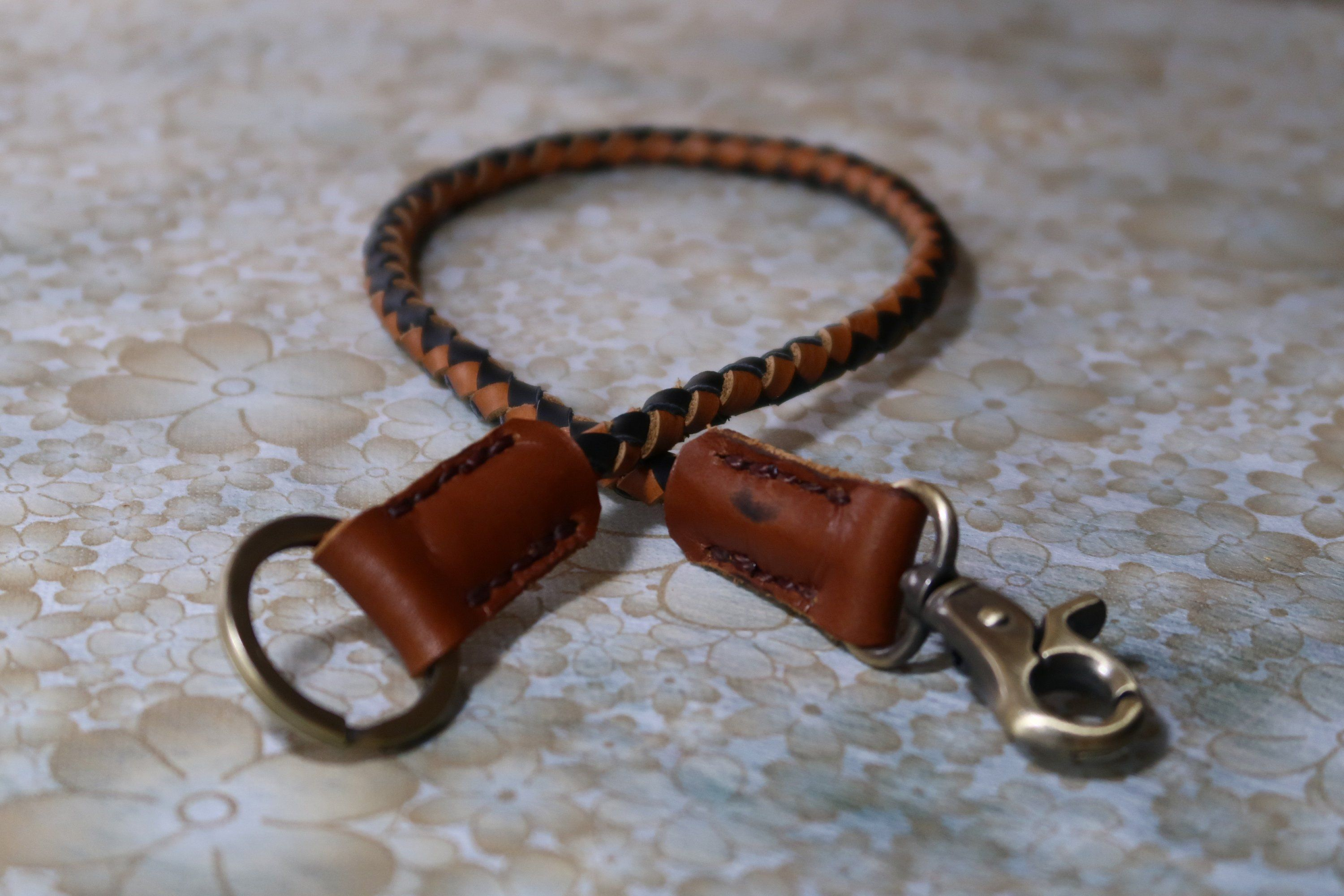 Tan Braided Leather Lanyard Leather Key Lanyard Biker Wallet Chain with Silver Tone Metal Hook and Key Ring Leather Key Ring