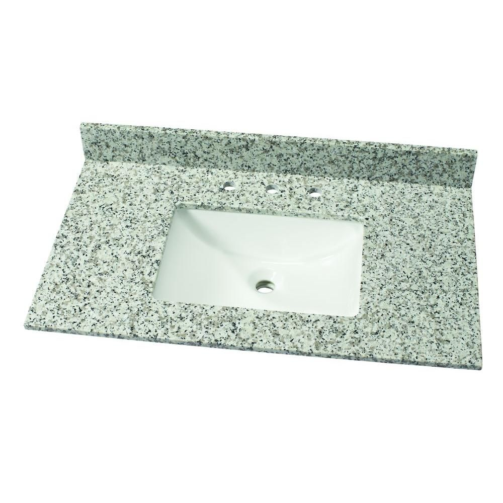 Gallery For Website Home Decorators Collection in W Granite Single Vanity Top in Blanco Perla with White